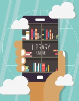 digital_library_background_smartphone_bookshelf_hand_clouds_icons_6837448